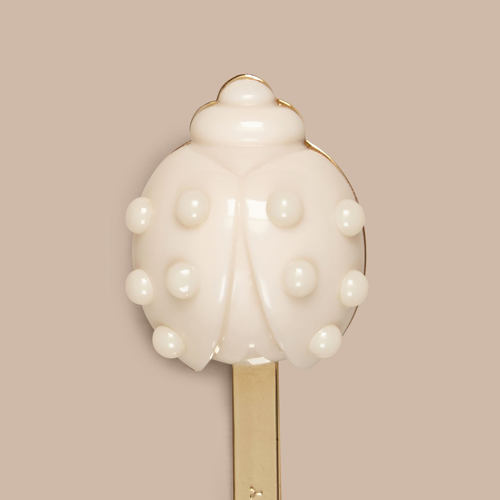 Light gold/off white Ladybird Detail Hairslide - gallery image 2