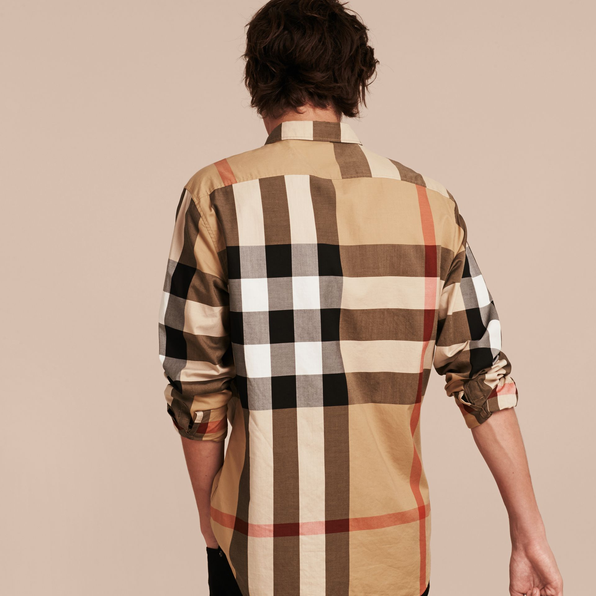 Cammello Camicia in cotone con motivo check Cammello - immagine della galleria 3