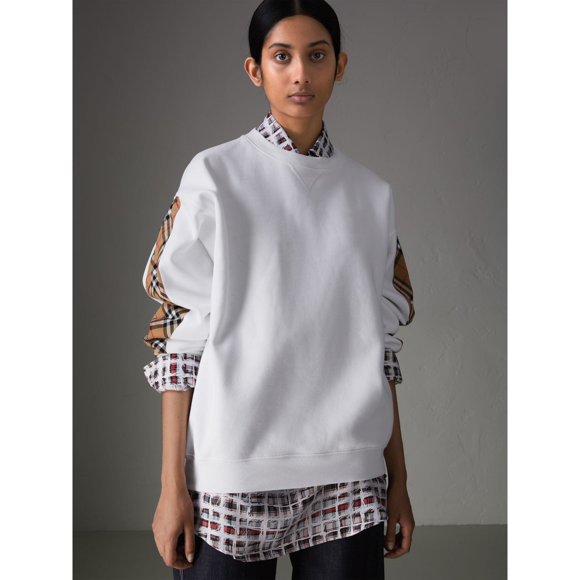 Vintage Check Detail Cotton Blend Sweatshirt in White - Women | Burberry - gallery image 4