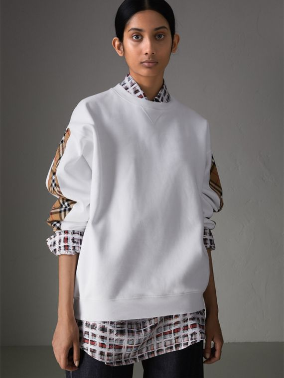Vintage Check Detail Cotton Blend Sweatshirt in White