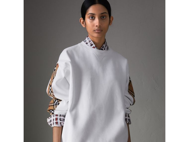 Vintage Check Detail Cotton Blend Sweatshirt in White - Women | Burberry Canada - cell image 4