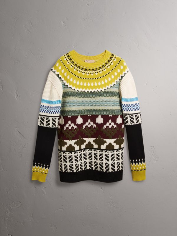 Fair Isle Multi-knit Cashmere Wool Sweater in Pine Green - Men | Burberry - cell image 3