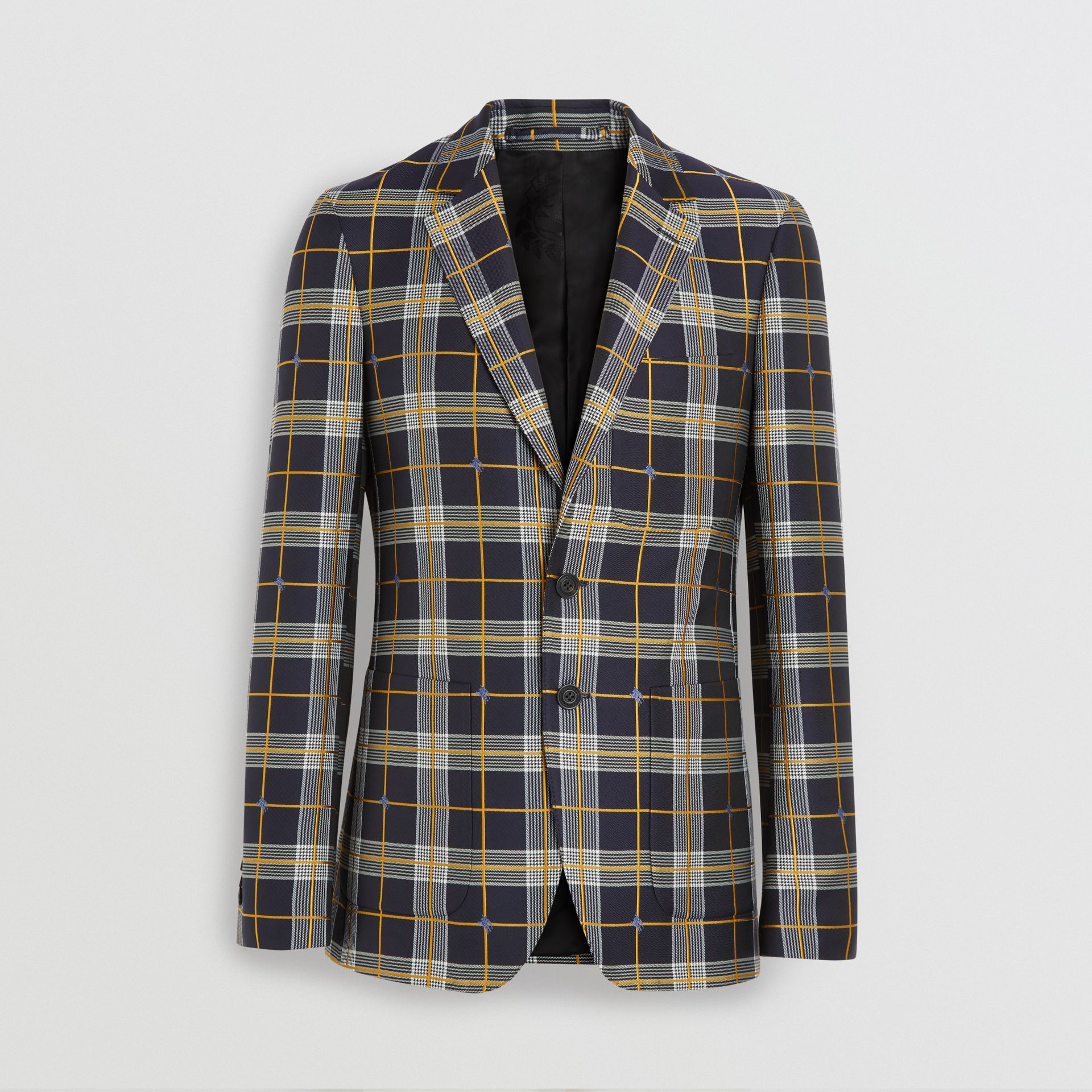 Slim Fit Equestrian Knight Check Tailored Jacket in Navy - Men | Burberry - gallery image 3