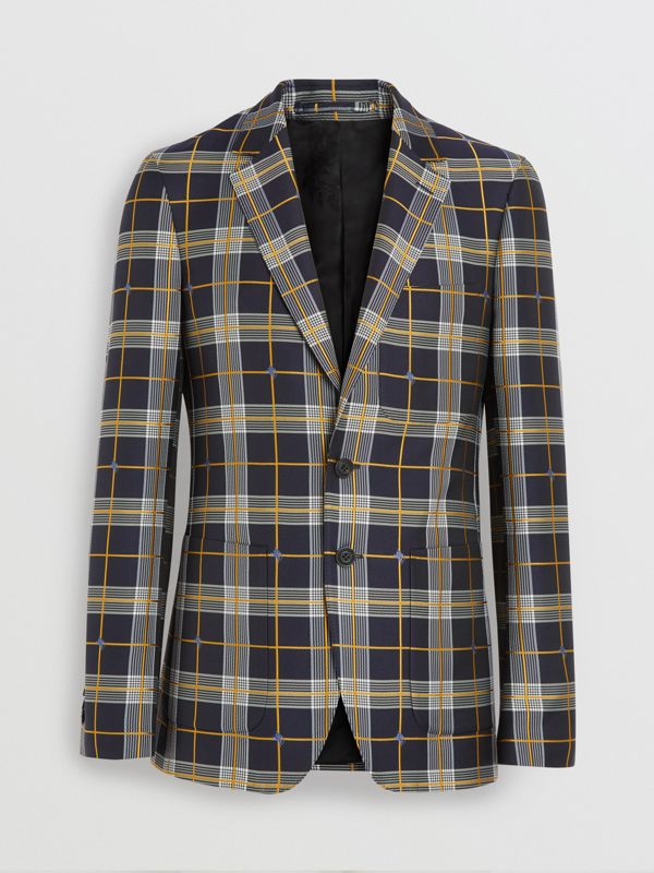 Slim Fit Equestrian Knight Check Tailored Jacket in Navy - Men | Burberry - cell image 3