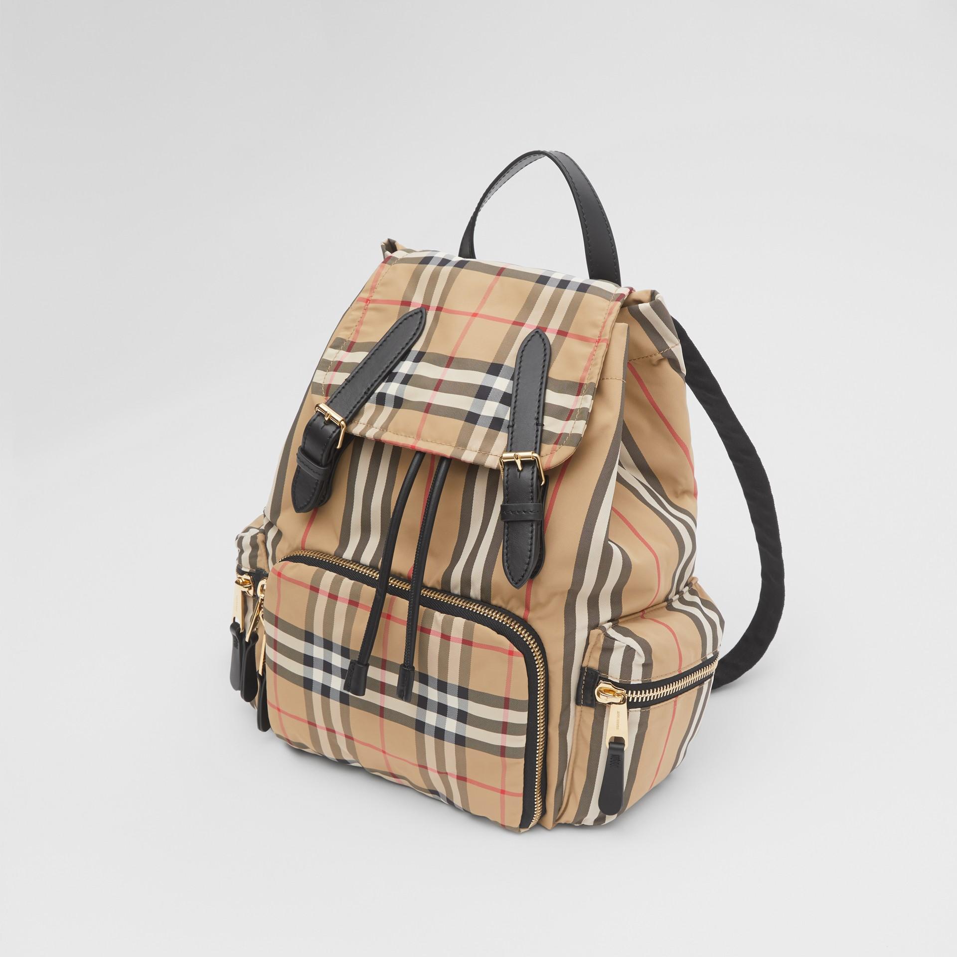 The Medium Rucksack in Vintage Check ECONYL® in Archive Beige - Women | Burberry - gallery image 4