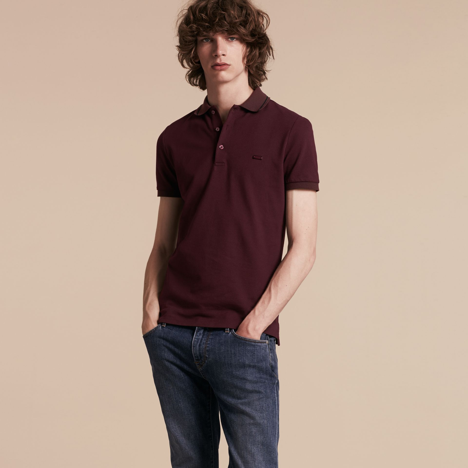 Burgundy red/black Contrast Trim Cotton Piqué Polo Shirt Burgundy Red/black - gallery image 6