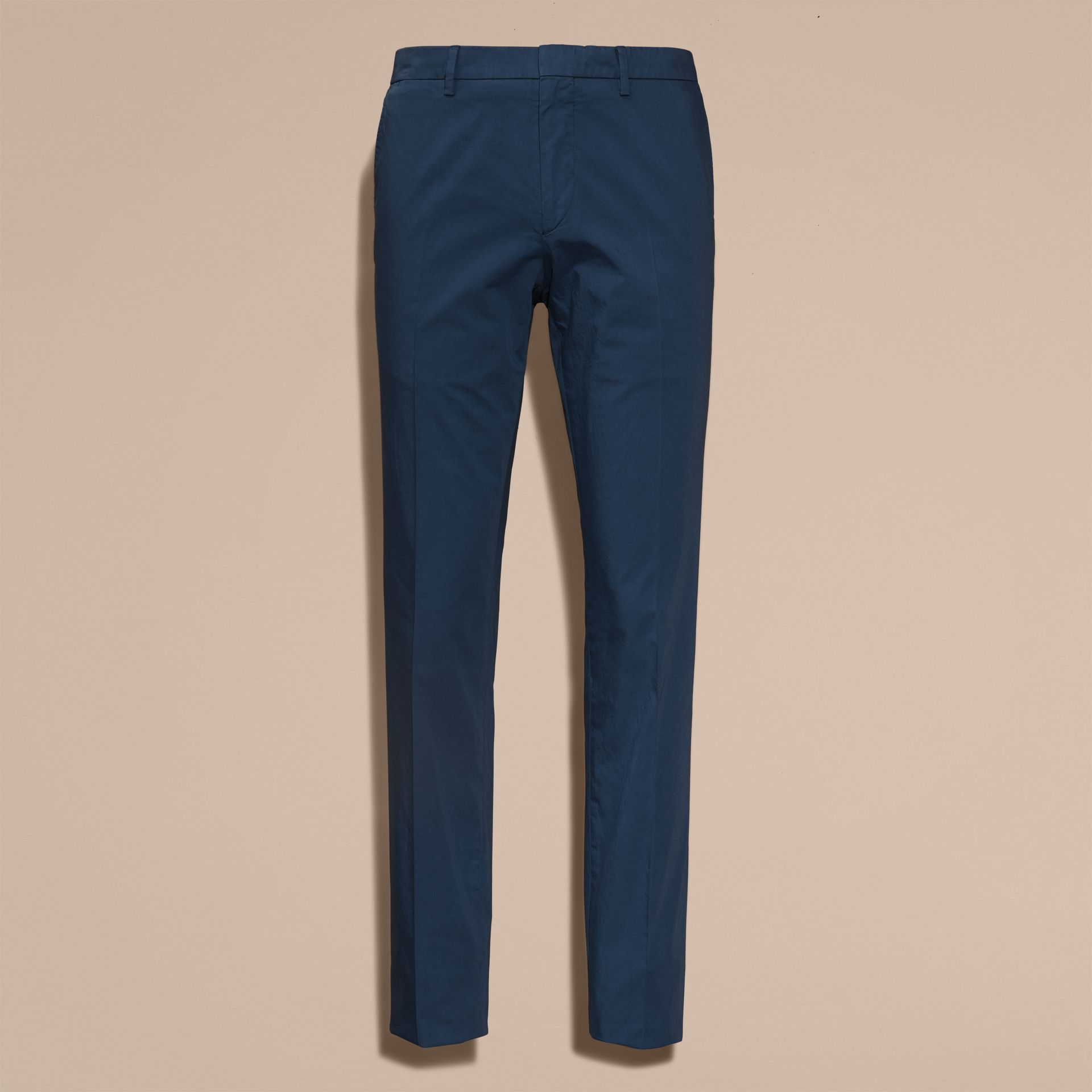 Bright steel blue Slim Fit Stretch Cotton Trousers Bright Steel Blue - gallery image 4