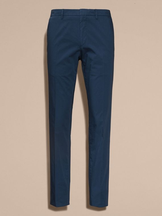 Bright steel blue Slim Fit Stretch Cotton Trousers Bright Steel Blue - cell image 3