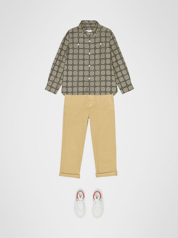 Flower Print Cotton Shirt in Khaki | Burberry - cell image 2