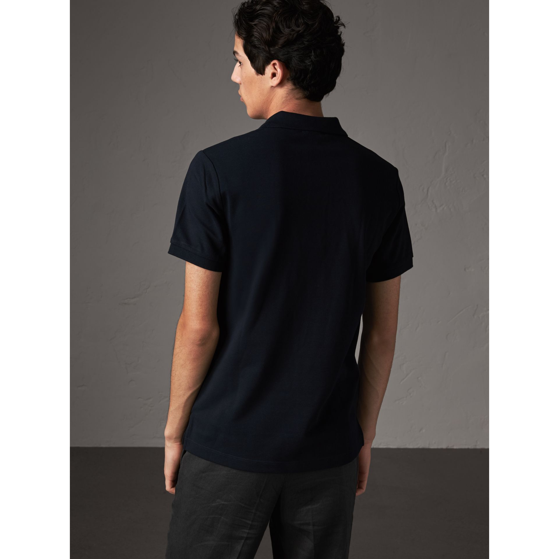 Check Placket Cotton Piqué Polo Shirt in Dark Navy - Men | Burberry United States - gallery image 2