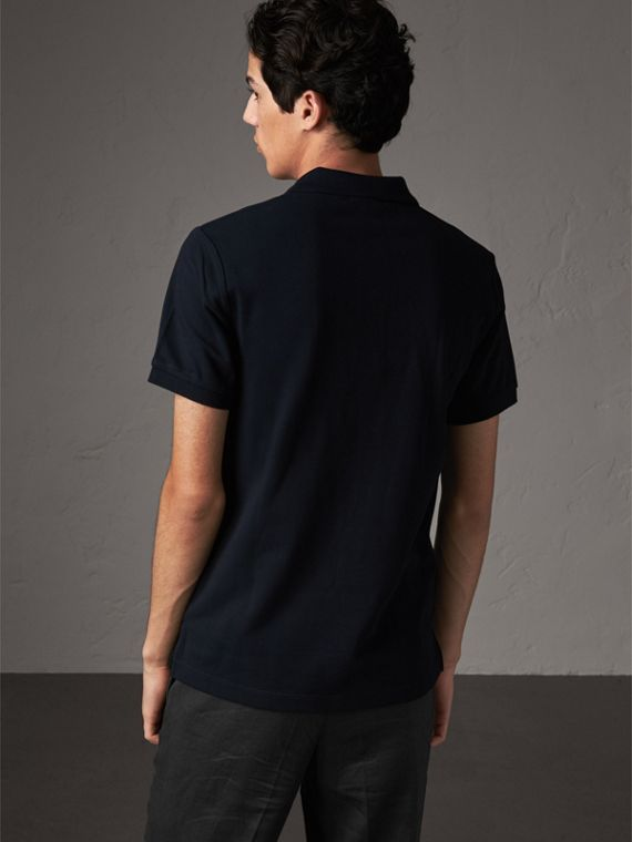 Check Placket Cotton Piqué Polo Shirt in Dark Navy - Men | Burberry United States - cell image 2