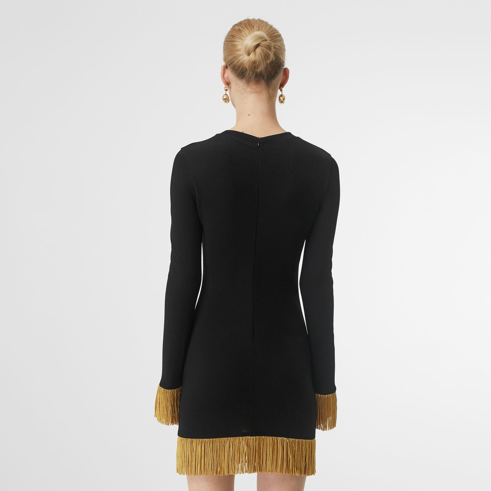Metallic Fringe Detail Stretch Jersey Dress in Black - Women | Burberry - gallery image 2