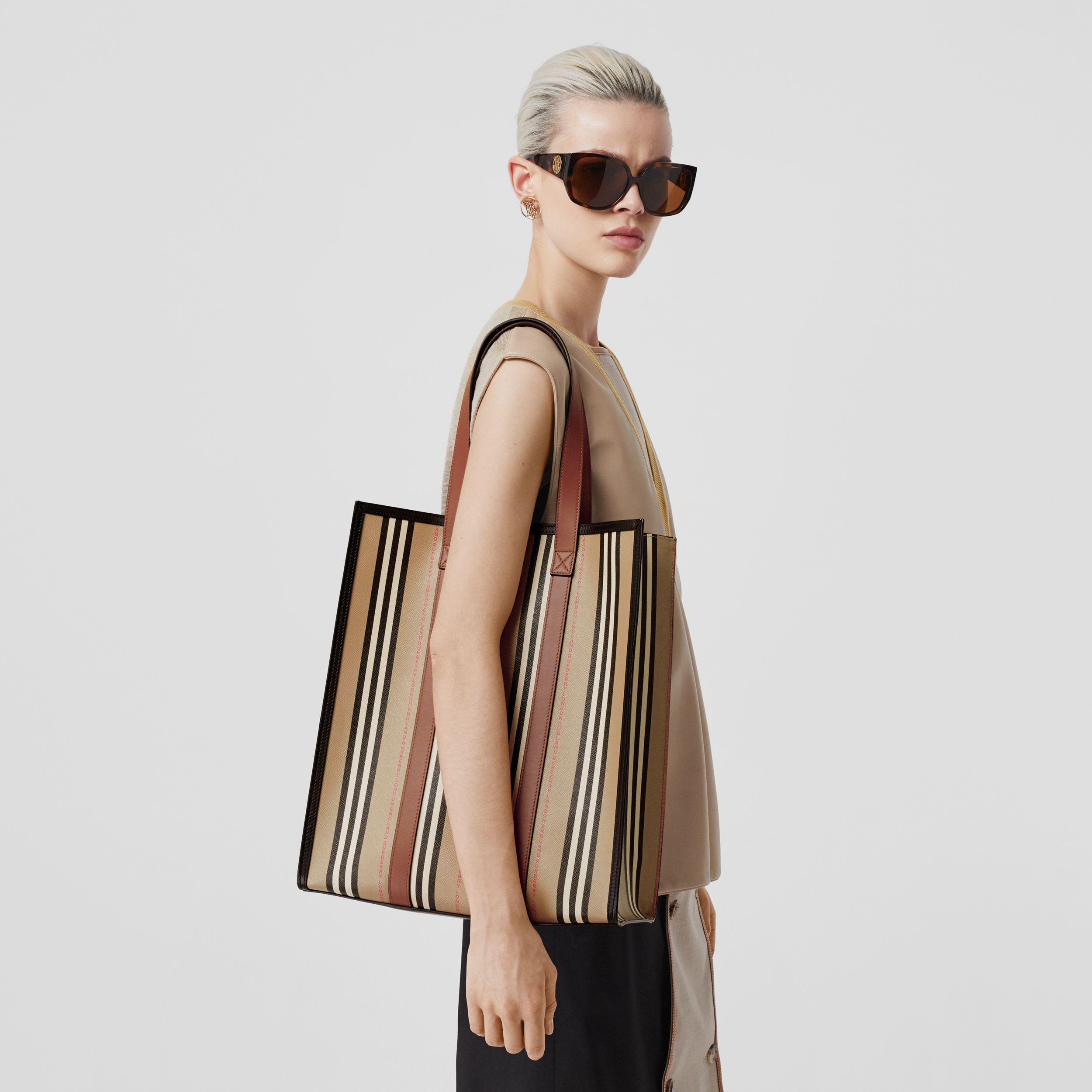 Logo and Stripe E-canvas Portrait Tote Bag in Tan/archive Beige - Women | Burberry - 3