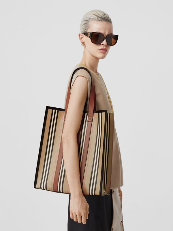 Logo and Stripe E-canvas Portrait Tote Bag in Tan/archive Beige - Women | Burberry United Kingdom - cell image 2