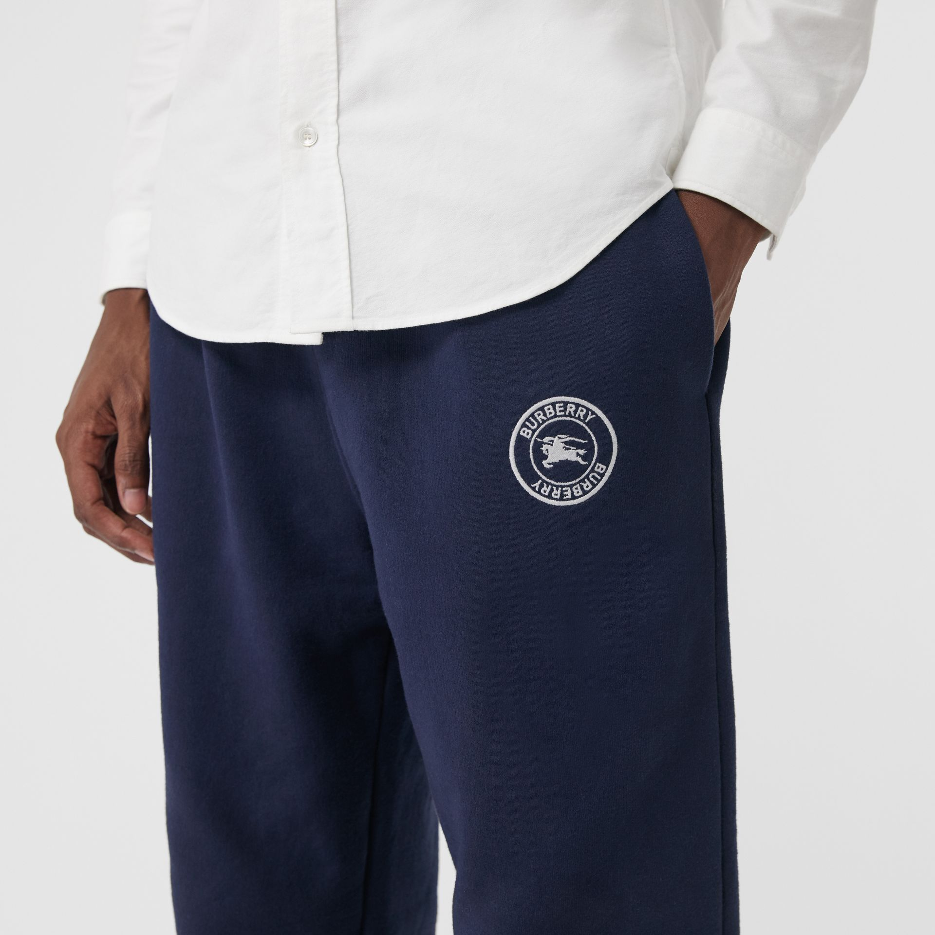Embroidered Logo Jersey Trackpants in Navy - Men | Burberry - gallery image 1