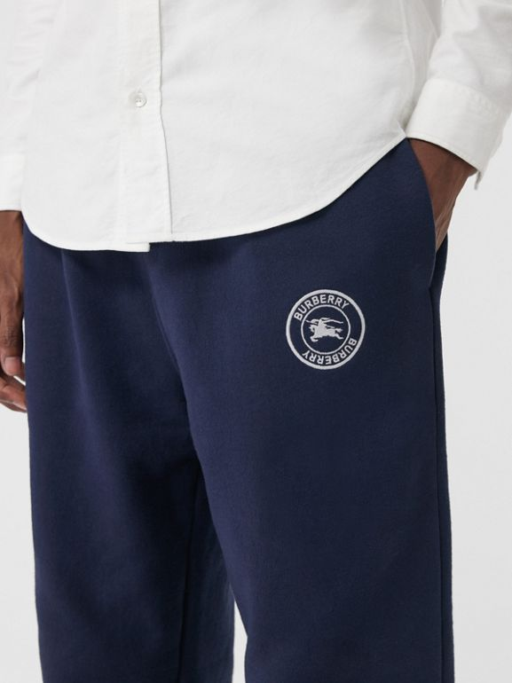 Embroidered Logo Jersey Trackpants in Navy - Men | Burberry - cell image 1