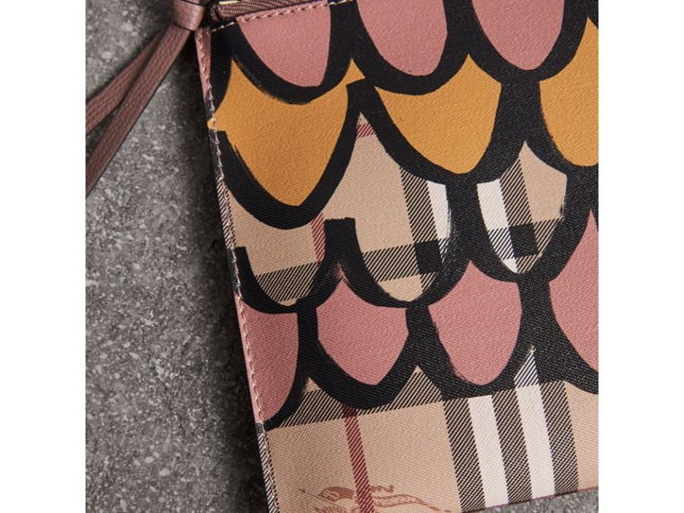 Trompe L'oeil Haymarket Check and Leather Pouch in Dusty Pink - Women | Burberry - cell image 1