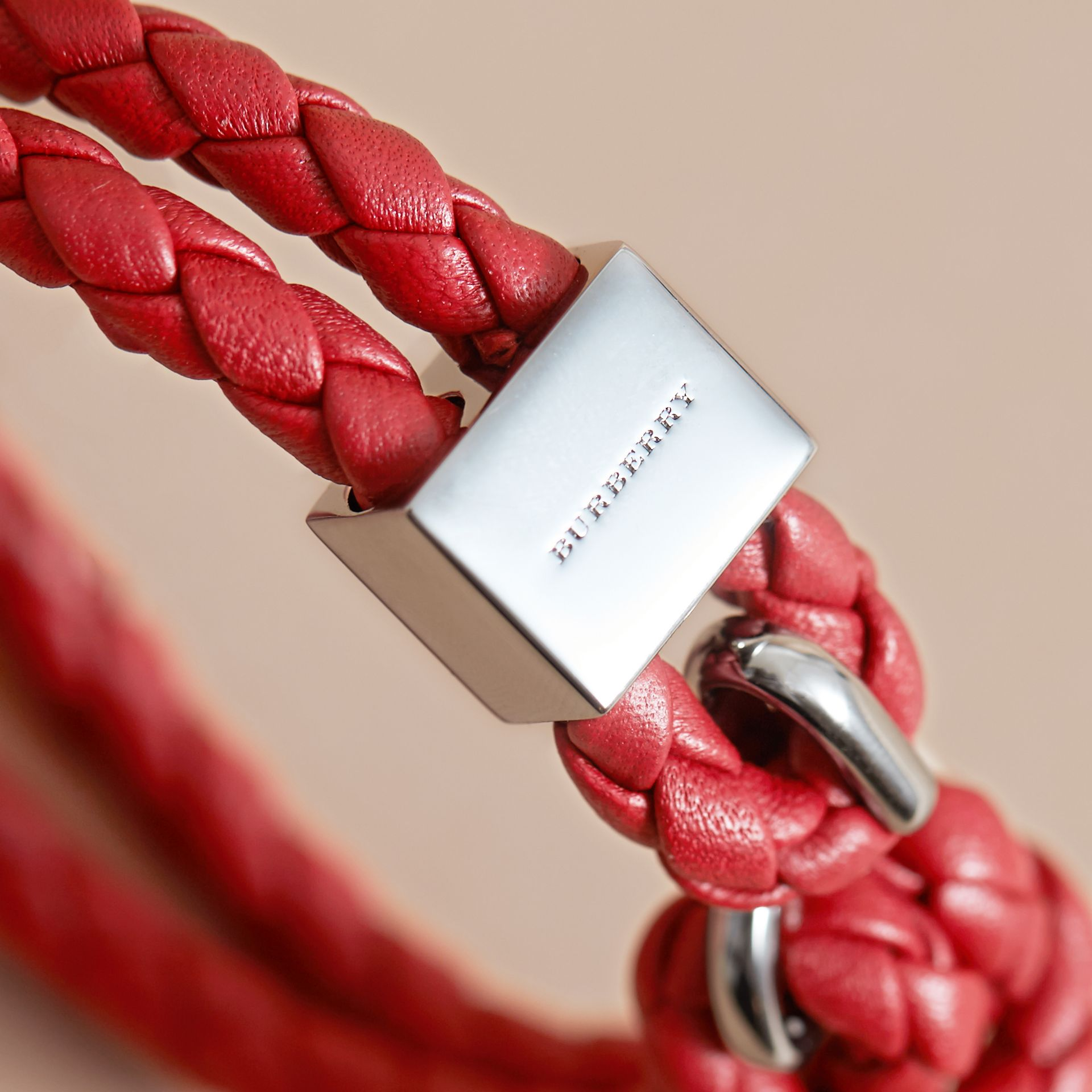 Braided Leather Bracelet Parade Red - gallery image 2