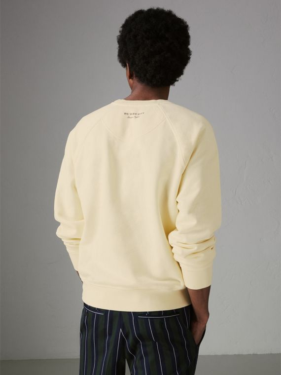Portrait and Logo Print Cotton Sweatshirt in Pale Yellow - Men | Burberry - cell image 2