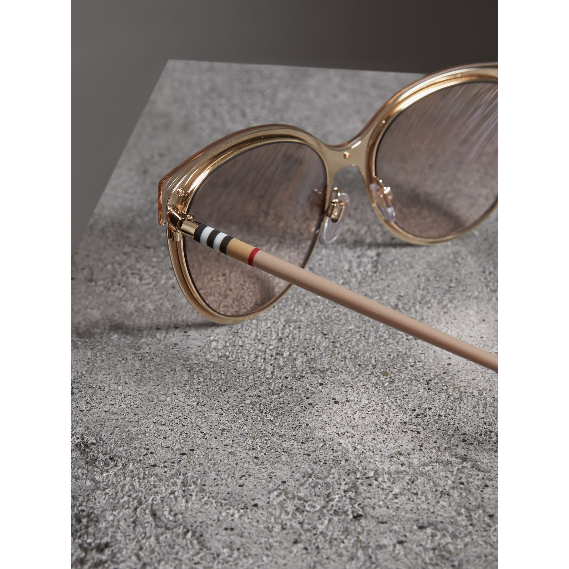 Two-tone Cat-eye Frame Sunglasses in Light Brown - Women | Burberry United Kingdom - gallery image 1