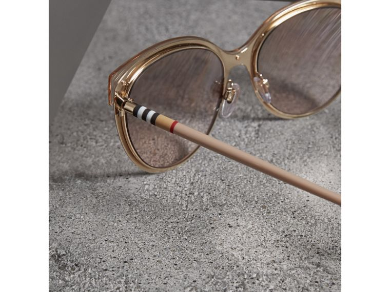 Two-tone Cat-eye Frame Sunglasses in Light Brown - Women | Burberry United Kingdom - cell image 1