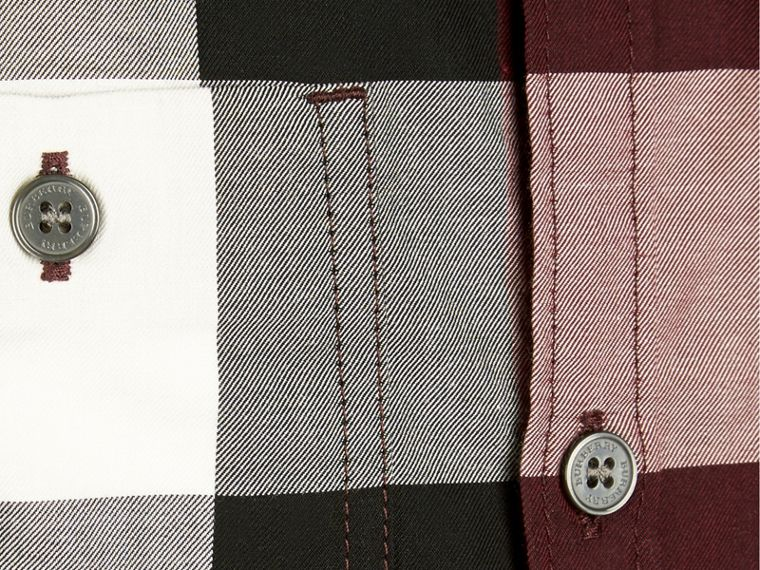 葡萄紅 格紋棉質襯衫 葡萄紅 - cell image 1