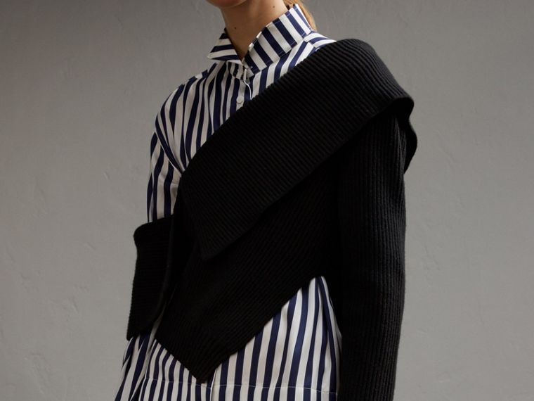 Striped Silk Cotton Shirt Dress - Women | Burberry - cell image 4