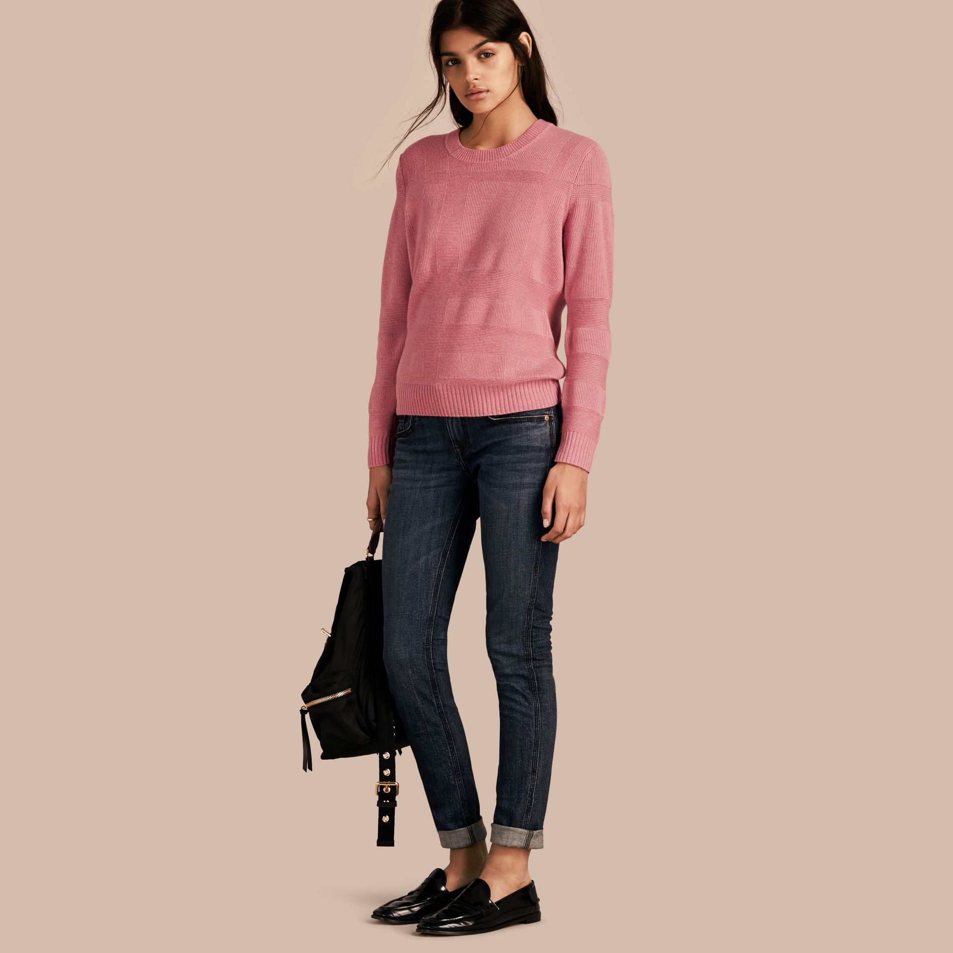 Check-knit Wool Cashmere Sweater in Hydrangea Pink Melange - gallery image 1