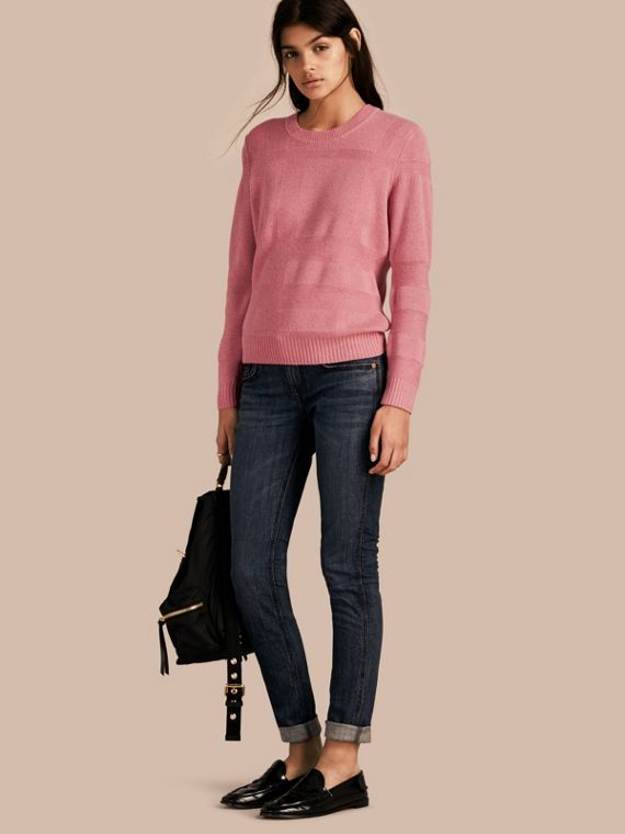 Check-knit Wool Cashmere Sweater Hydrangea Pink Melange