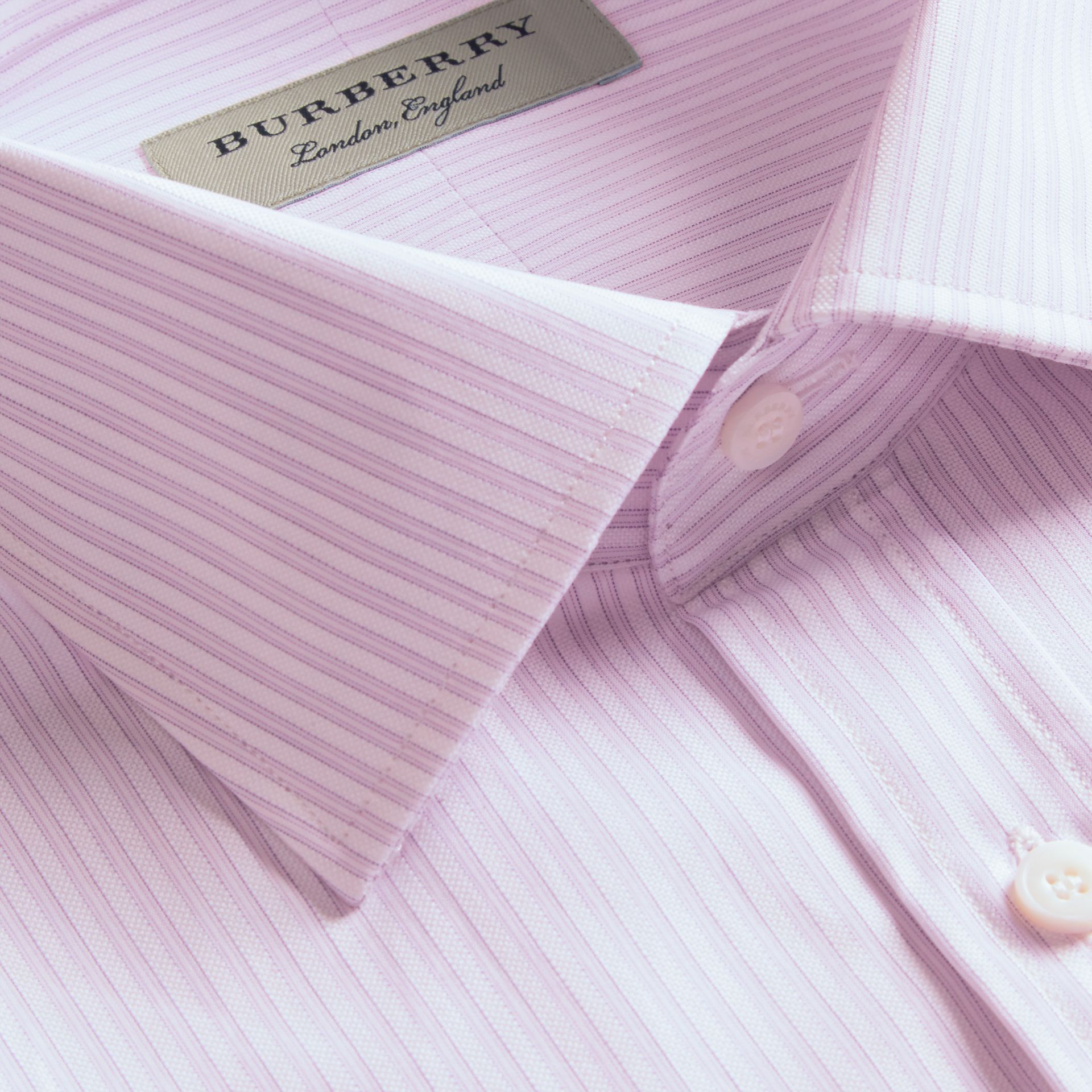 City lilac Modern Fit Double-cuff Striped Cotton Shirt - gallery image 2