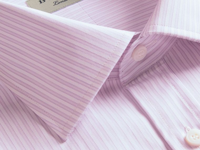 City lilac Modern Fit Double-cuff Striped Cotton Shirt - cell image 1