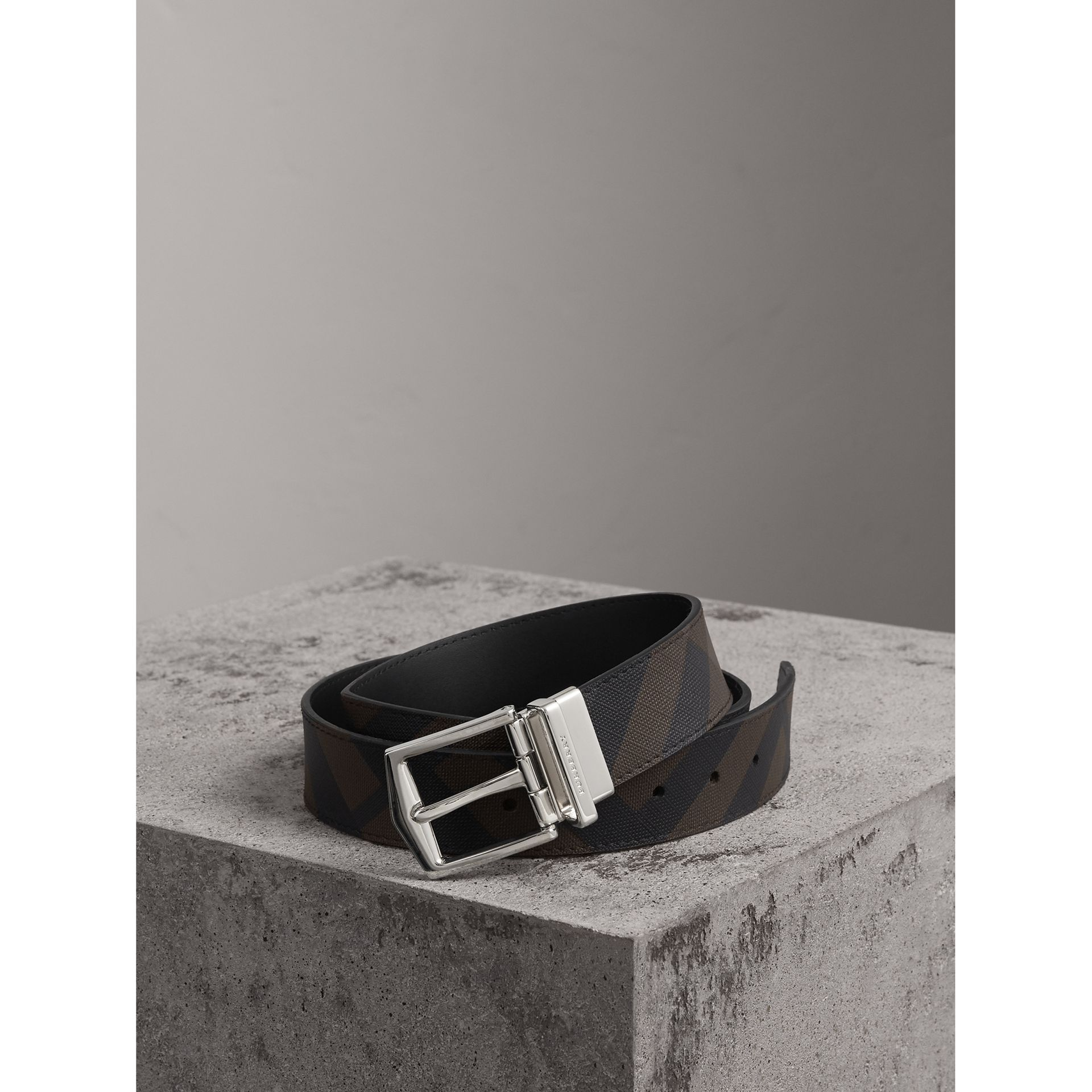 Reversible London Check and Leather Belt in Chocolate/black - Men | Burberry - gallery image 0
