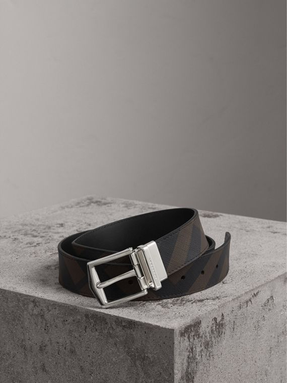 Reversible London Check and Leather Belt in Chocolate/black