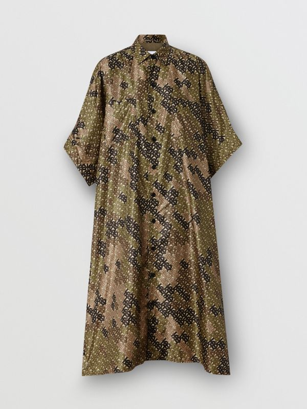 Monogram Print Nylon Twill Poncho in Khaki Green - Women | Burberry - cell image 3