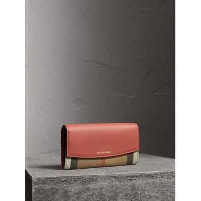Burberry - Portefeuille continental en coton House check et cuir - 1