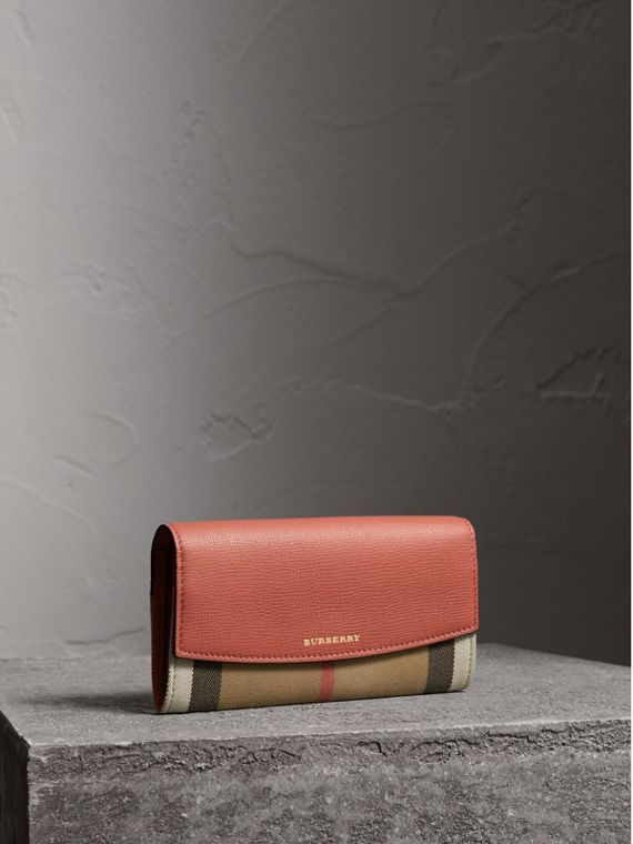 House Check And Leather Continental Wallet in Cinnamon Red - Women | Burberry Australia