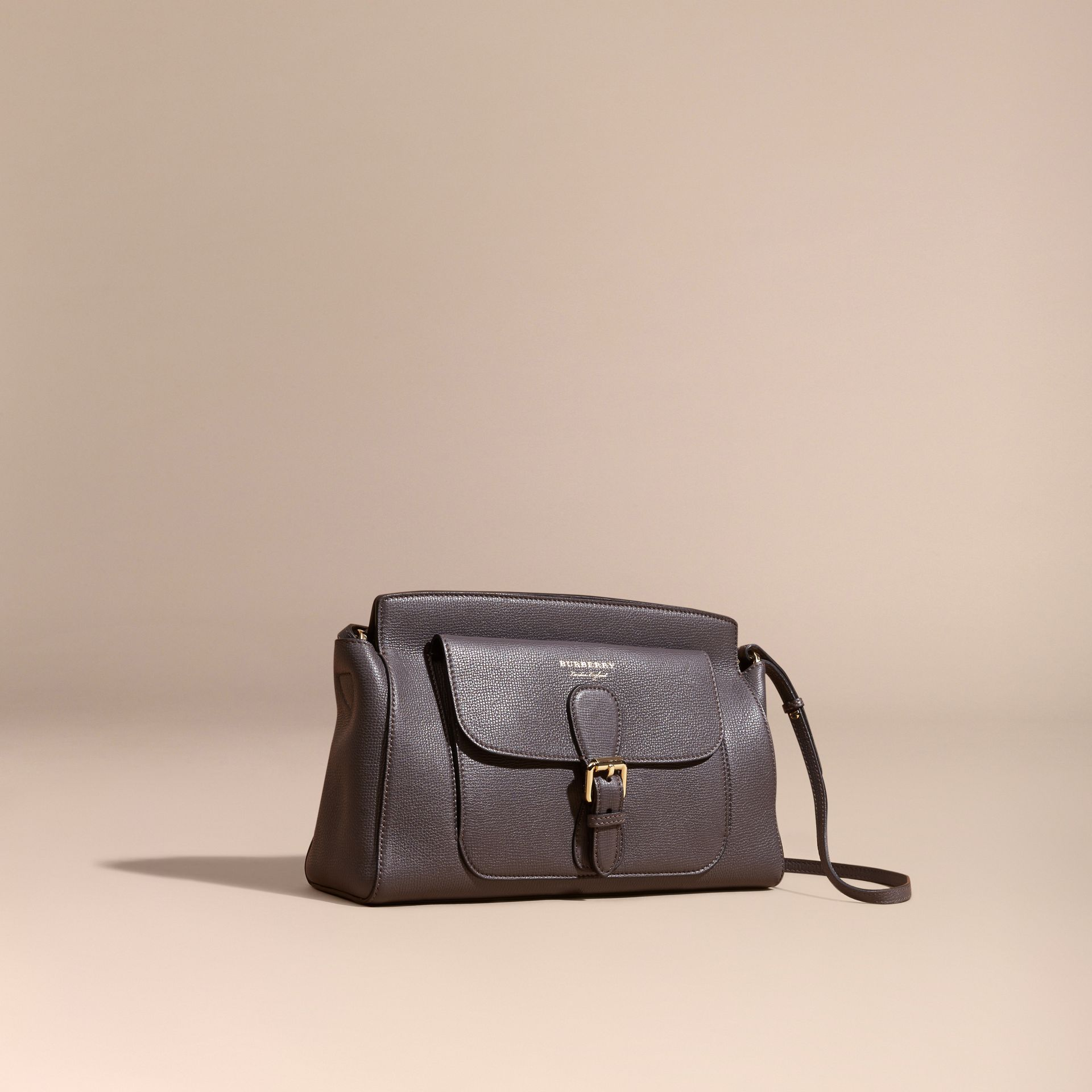 Sepia grey The Saddle Clutch in Grainy Bonded Leather Sepia Grey - gallery image 1