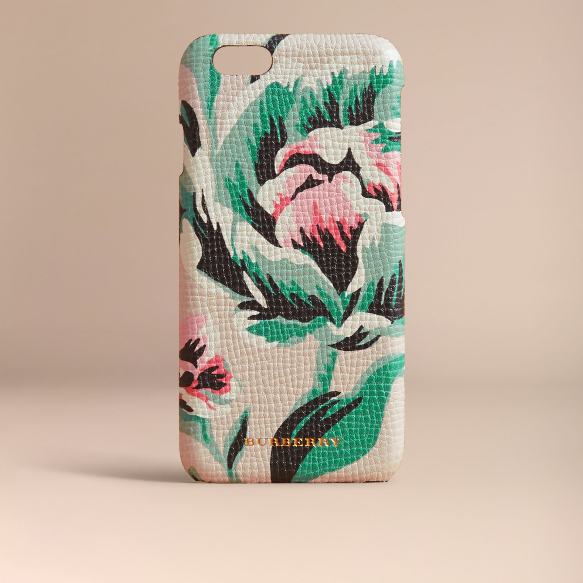 Peony Rose Print Leather iPhone 6 Case Natural / Emerald Green - gallery image 5