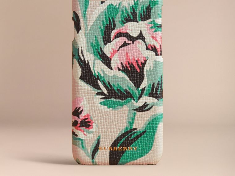 Peony Rose Print Leather iPhone 6 Case Natural / Emerald Green - cell image 4
