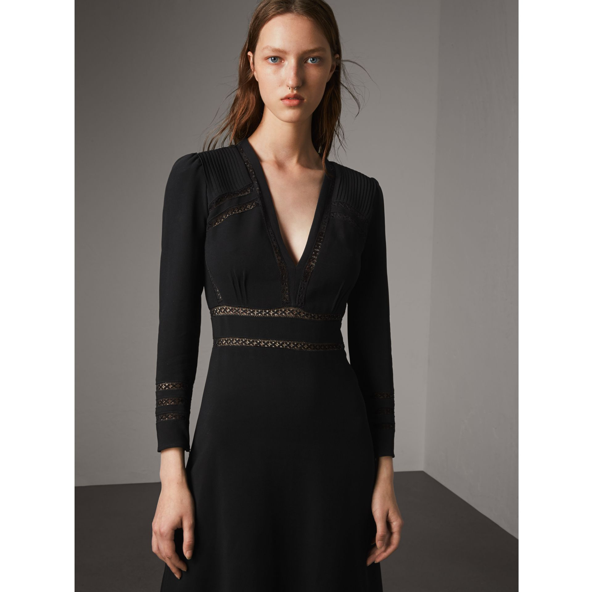 Lace Insert Fitted Dress in Black - Women | Burberry - gallery image 1