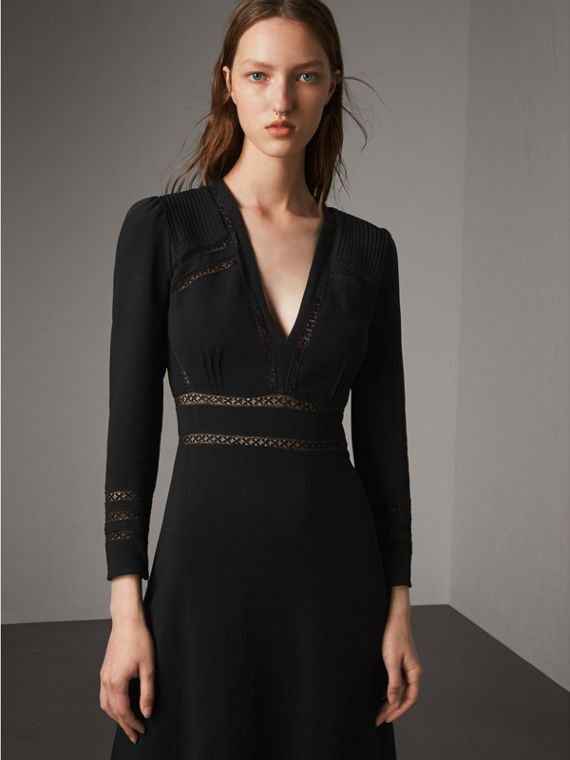 Lace Insert Fitted Dress - Women | Burberry Australia