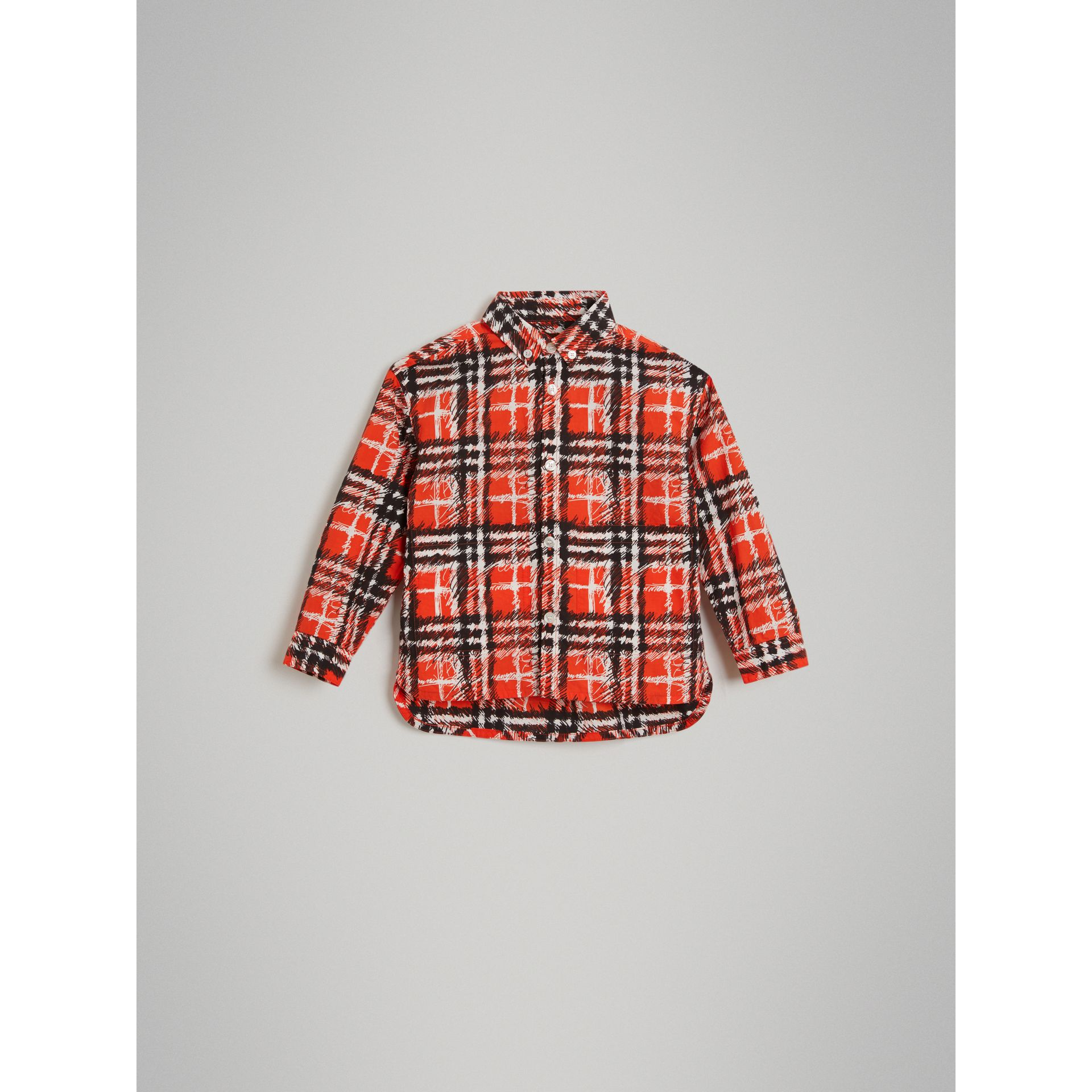 Scribble Check Button-down Collar Shirt in Bright Red - Boy | Burberry United Kingdom - gallery image 2