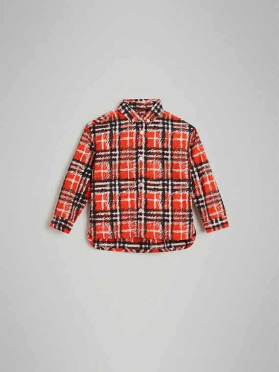 Scribble Check Button-down Collar Shirt in Bright Red - Boy | Burberry United Kingdom - cell image 2