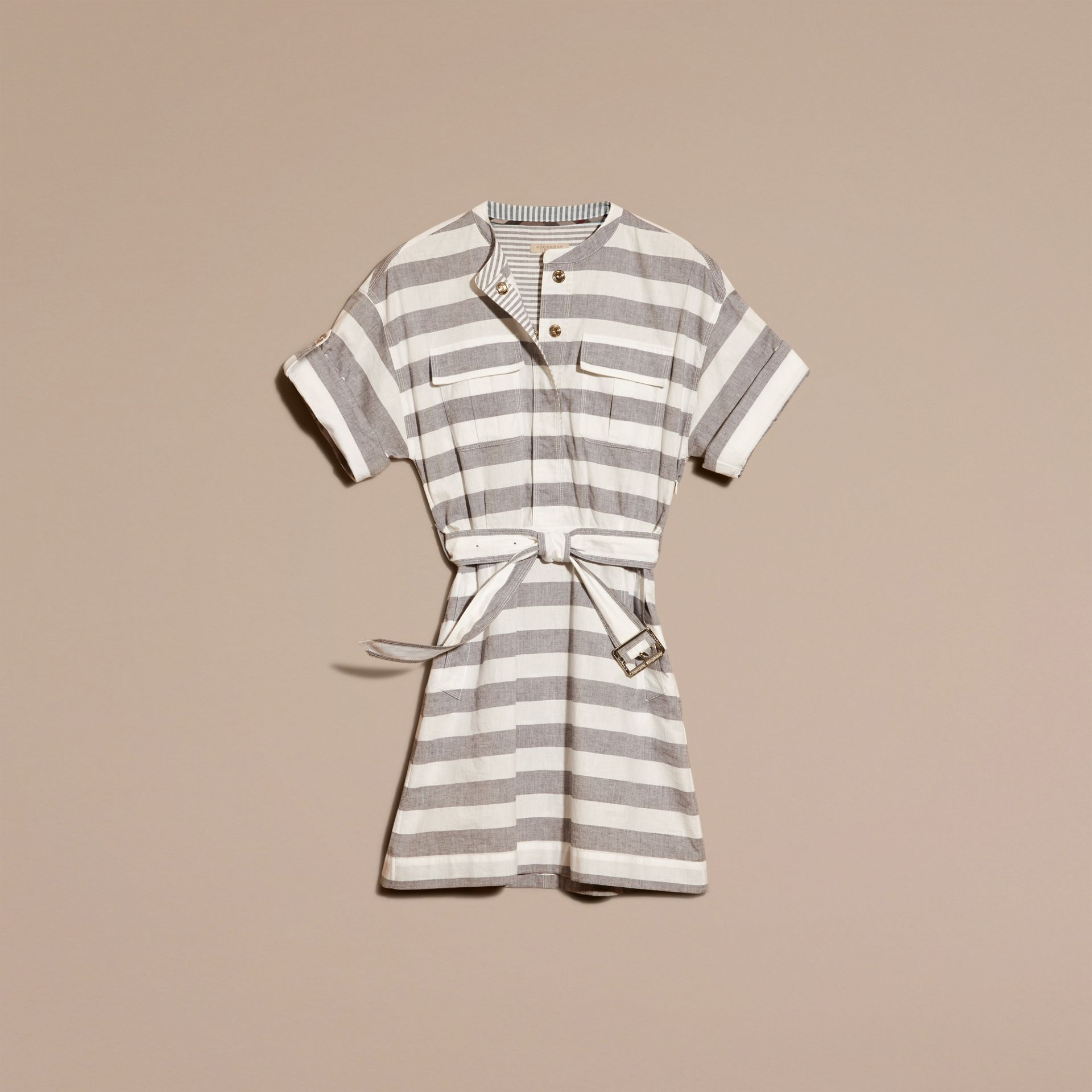 White Striped Belted Cotton Dress - gallery image 4