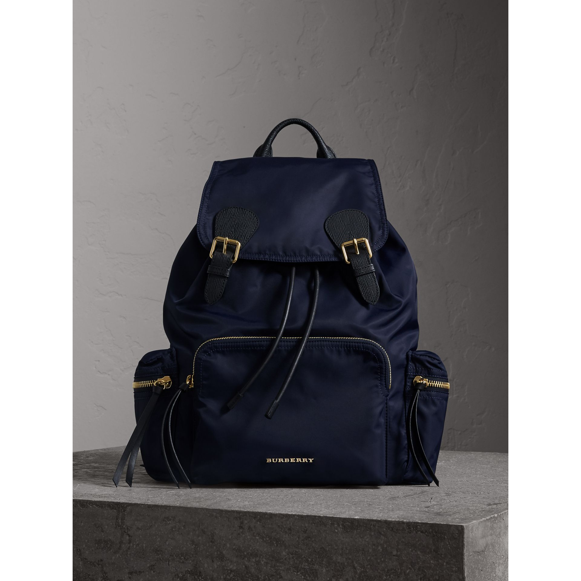 The Large Rucksack in Technical Nylon and Leather in Ink Blue - gallery image 1