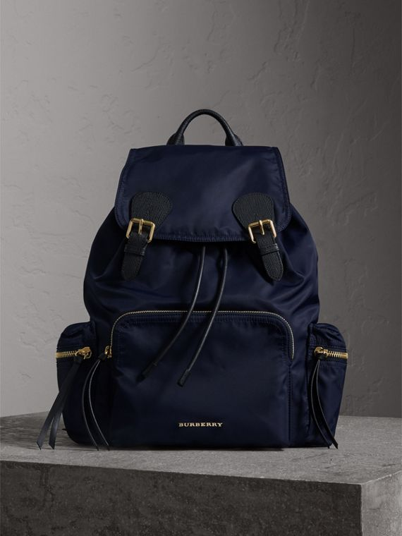 The Large Rucksack in Technical Nylon and Leather in Ink Blue