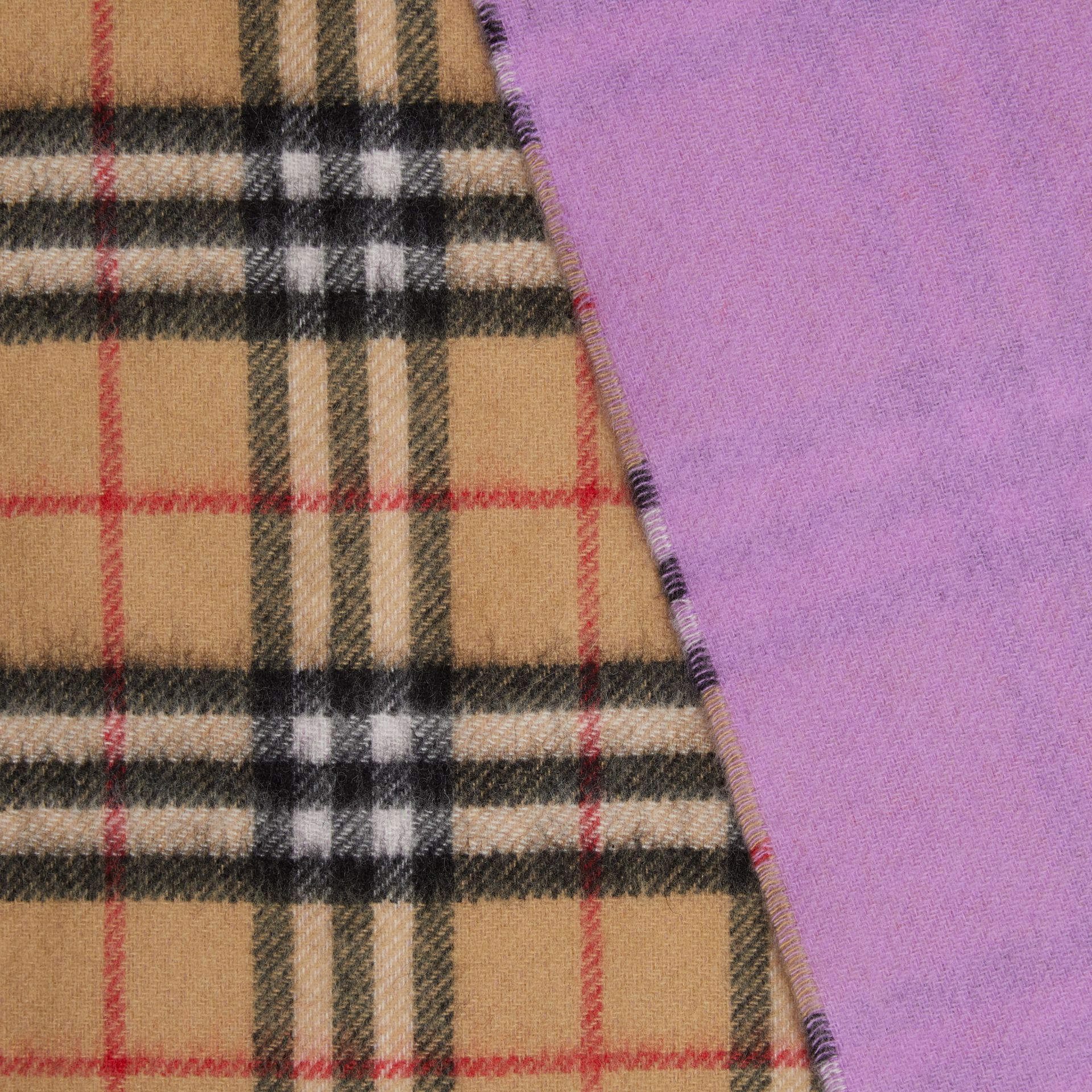 Colour Block Vintage Check Cashmere Scarf in Bright Lilac | Burberry Canada - gallery image 1