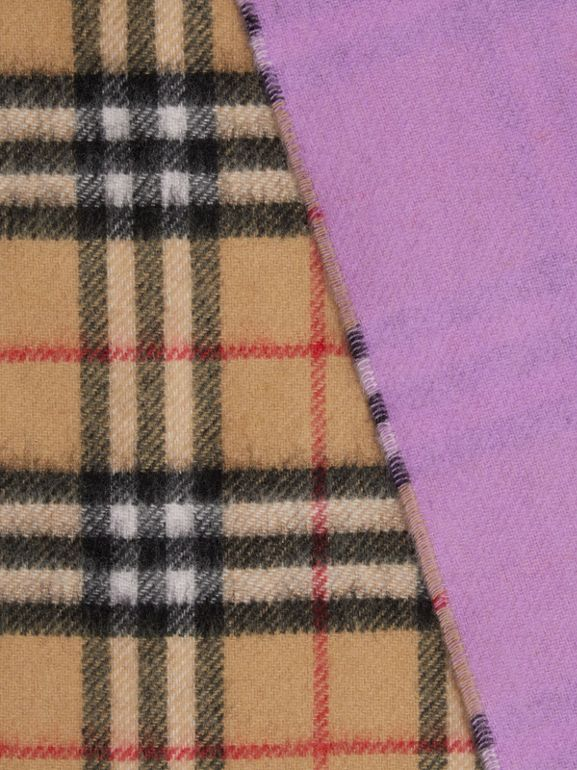 Colour Block Vintage Check Cashmere Scarf in Bright Lilac | Burberry Canada - cell image 1