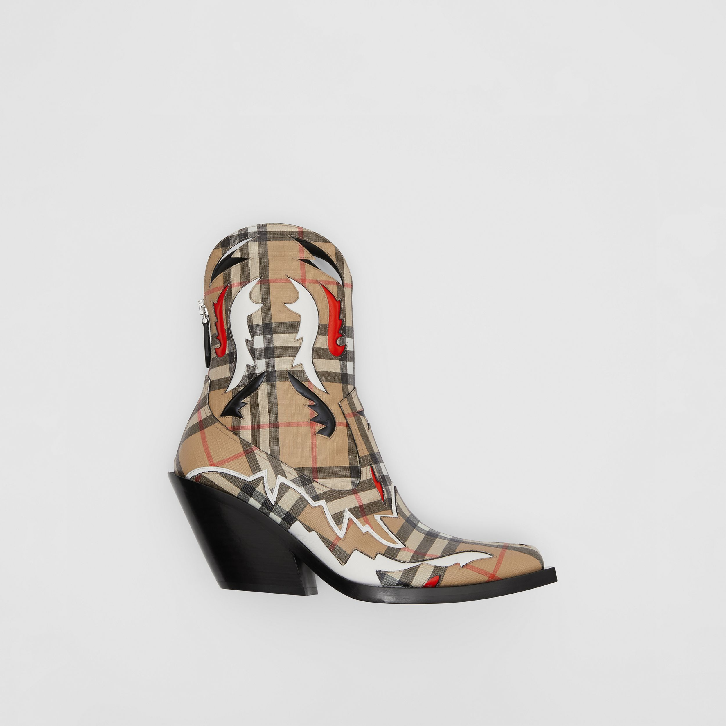 Topstitch Appliqué Vintage Check E-canvas Boots in Archive Beige - Women | Burberry United States - 1
