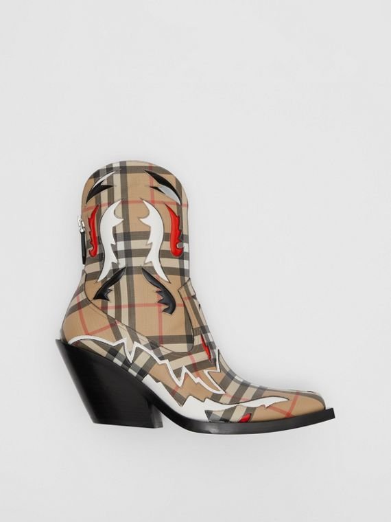Topstitch Appliqué Vintage Check Cowboy Boots in Archive Beige